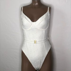 Onia Danielle Eyelet Lace UW Belted Swimsuit